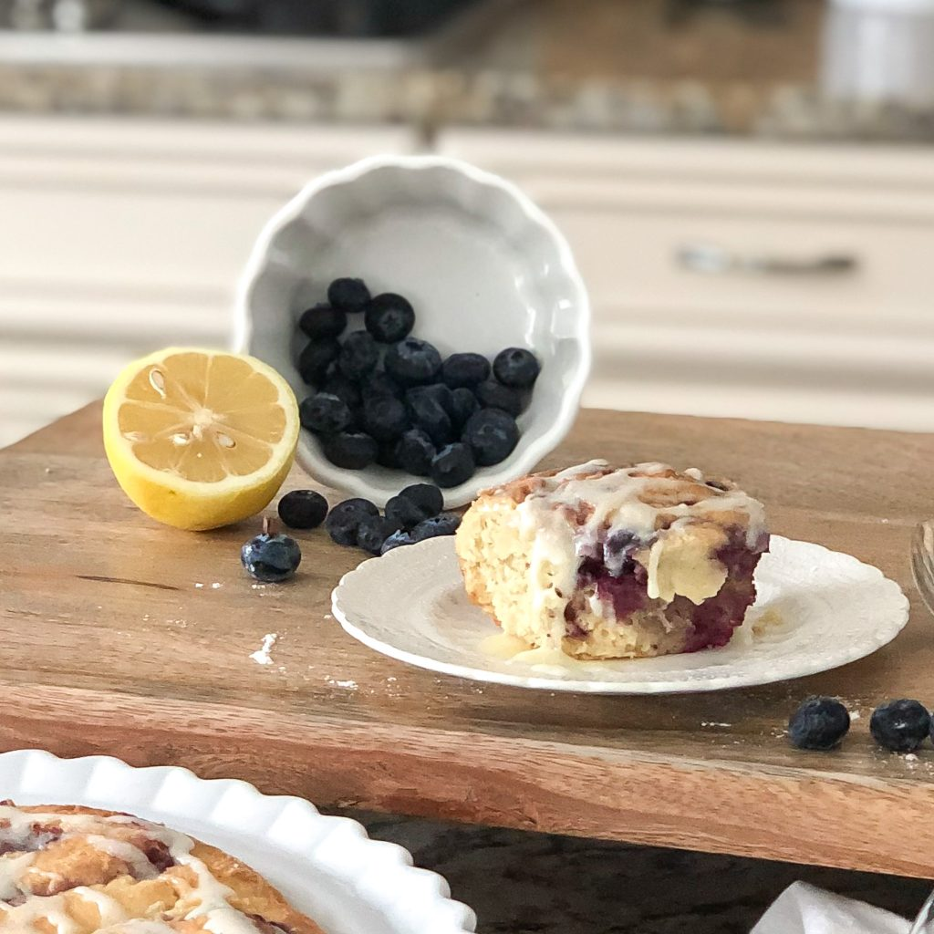Gluten Free Blueberry Rolls with fresh blueberries and lemons