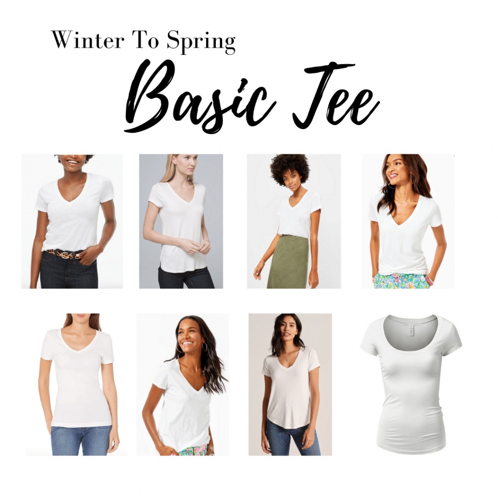 Wear basic white tee shirts for transition from winter to spring.