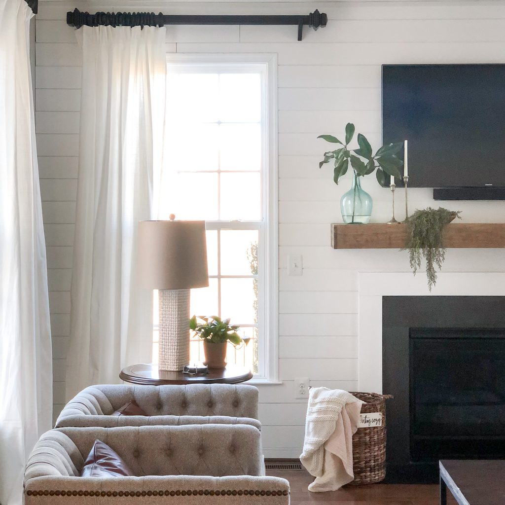 Modern Farmhouse Family Room with natural light